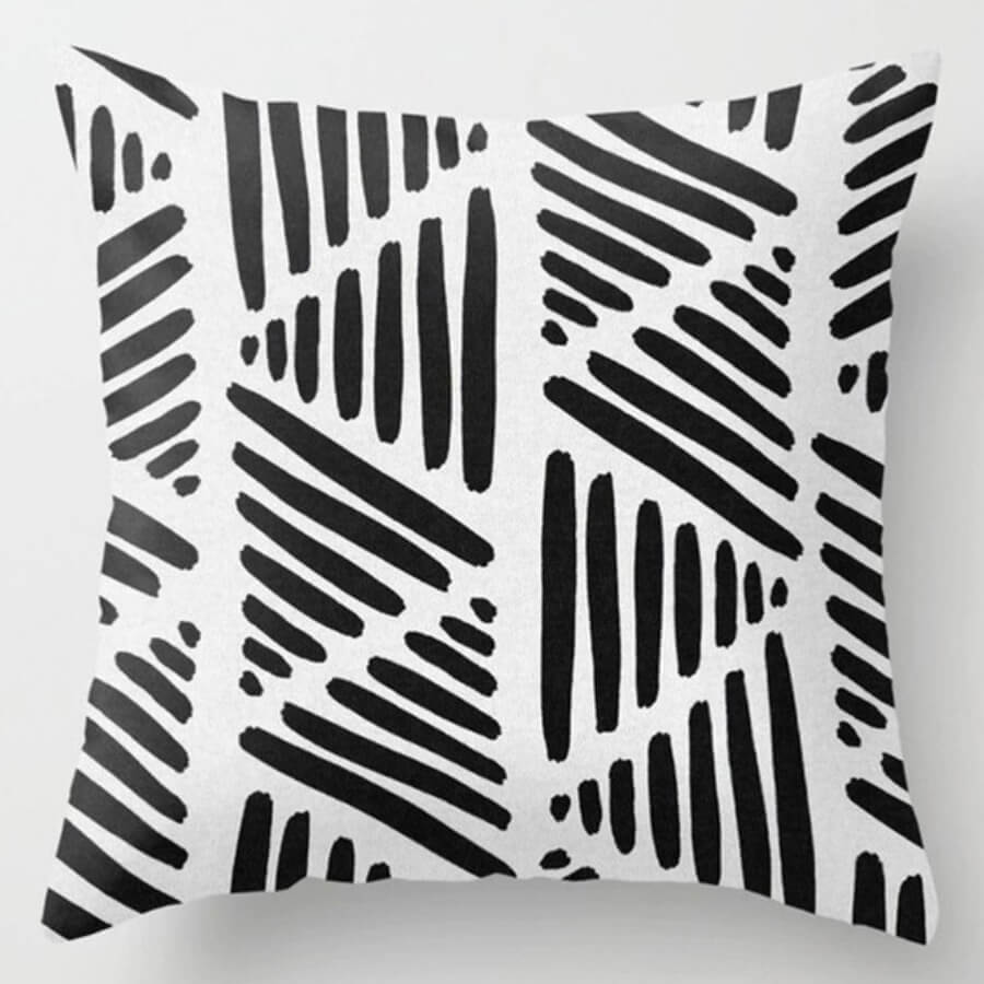 lovely Chic Striped Print Black And White Decorative Pillow Case