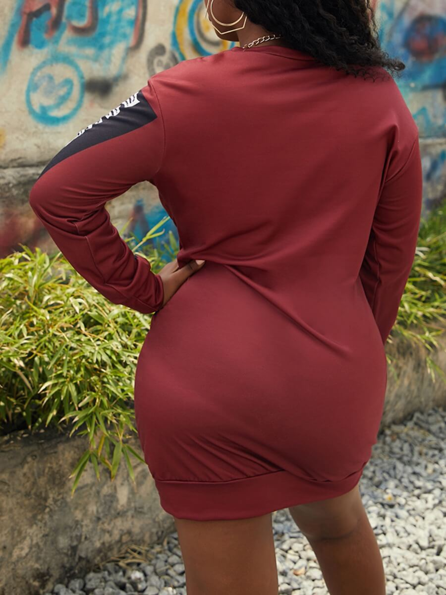 Lovely Street O Neck Print Wine Red Mini Dress