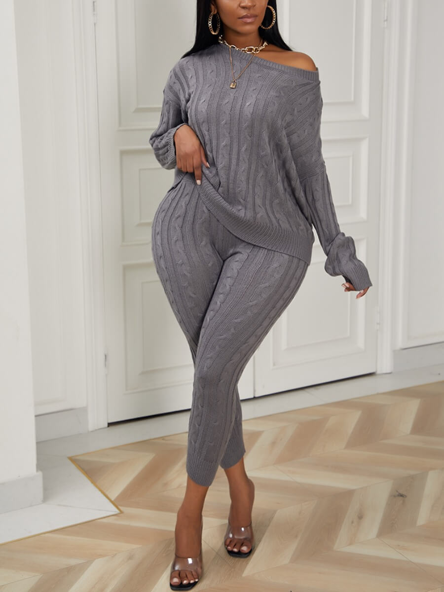 Lovely Casual O Neck Striped Grey Plus Size Two-pi