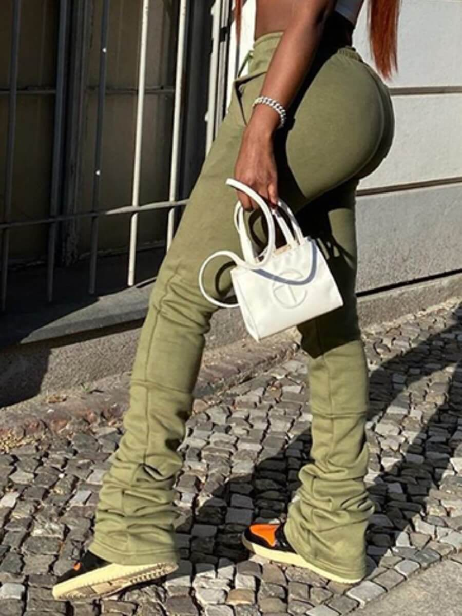 lovelywholesale / Lovely Street Fold Design Drawstring Army Green Pants