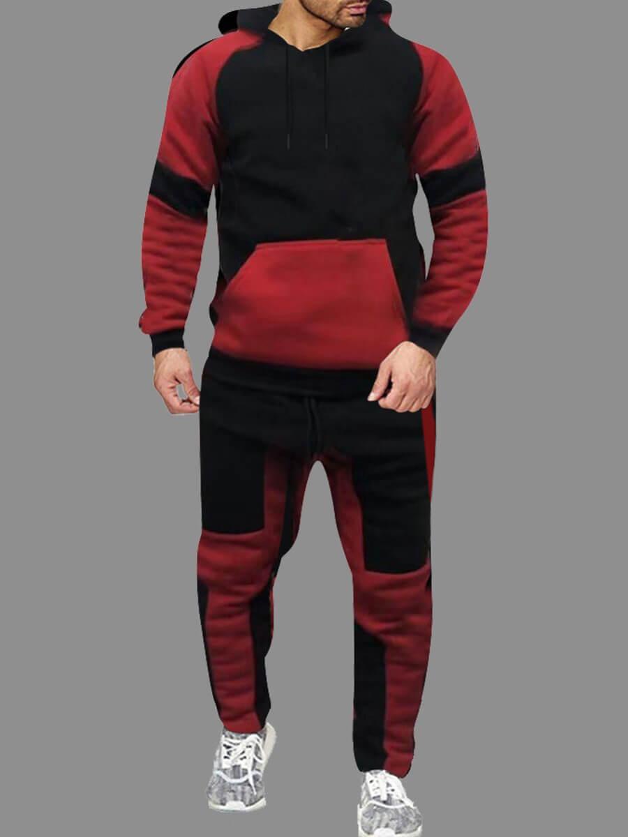 Lovely Sportswear Hooded Collar Patchwork Red Men
