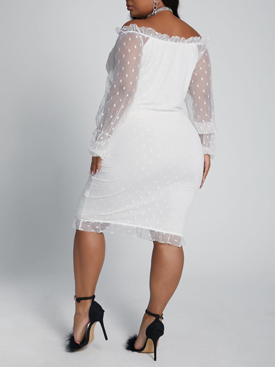Lovely Sweet Patchwork See-through White Knee Leng