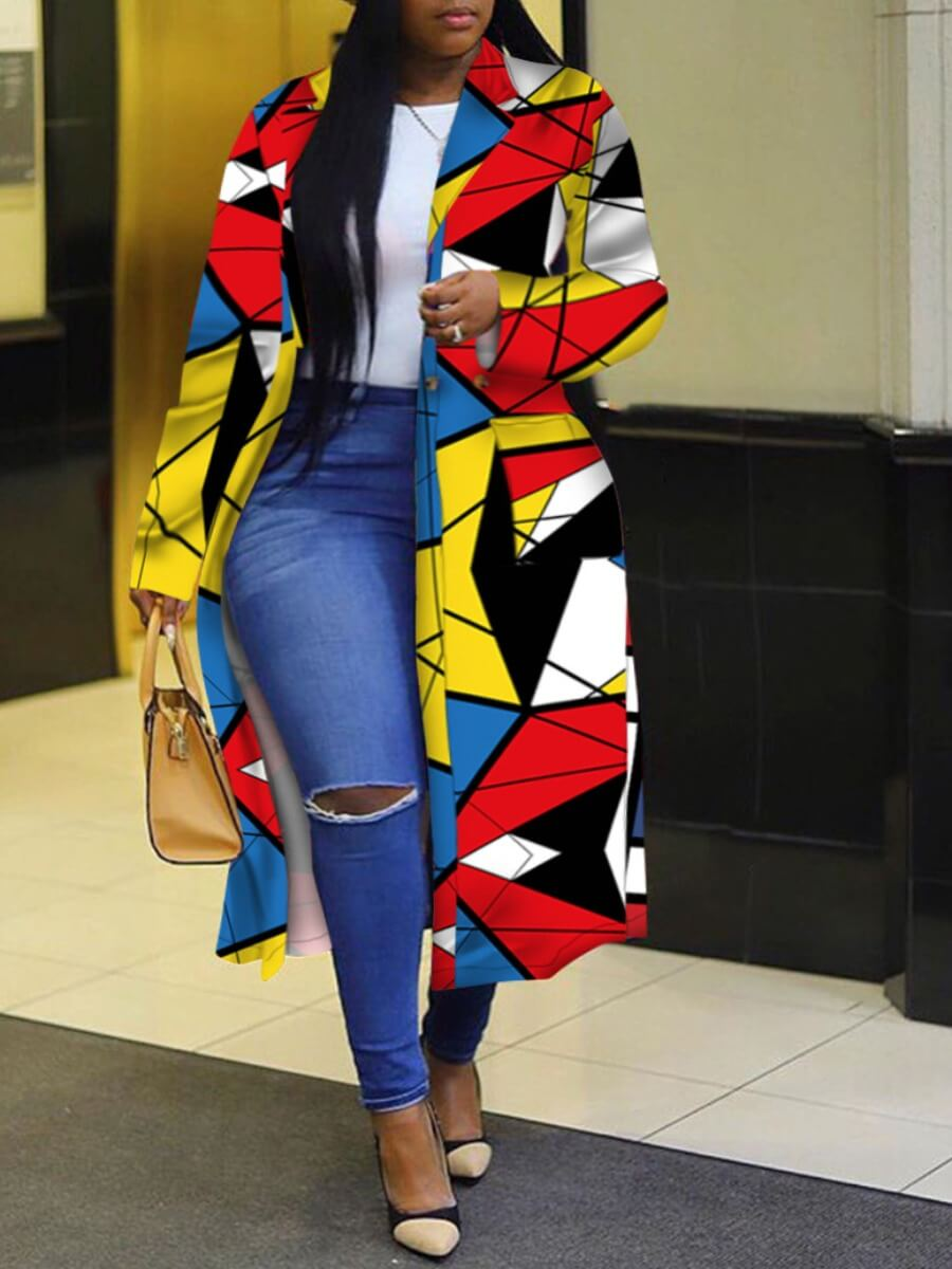 LW Plus Size Trendy Turndown Collar Print Multicolor Long Trench Coat