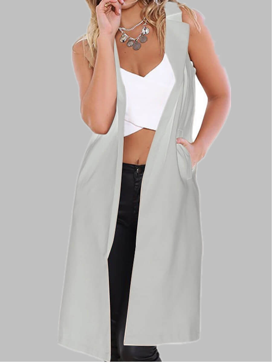 lovely Casual Basic Grey Long Waistcoat