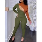 lovely Trendy Turtleneck Patchwork Zipper Design Army GreenTwo Piece Pants Set