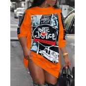 Lovely Street O Neck Print Orange Knee Length Dress