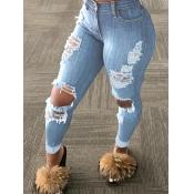 Lovely Street Broken Holes Baby Blue Jeans