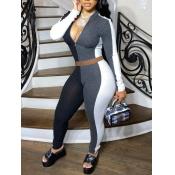 lovely Sportswear Patchwork Zipper Design Black Two Piece Pants Set