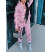 Lovely Sportswear Hooded Collar Print Pink Two Piece Pants Set