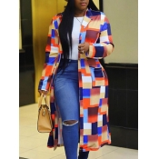 Lovely Casual Plaid Multicolor Plus Size Coat