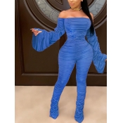 lovely Trendy Dew Shoulder Fold Design Blue One-piece Jumpsuit