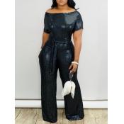 lovely Trendy Print Black One-piece Jumpsuit