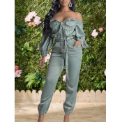lovely Trendy Buttons Design Green One-piece Jumps