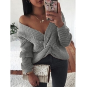 Lovely Street Knot Design Grey Plus Size Sweater