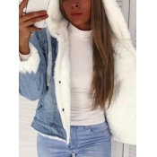 lovely Casual Hooded Collar Patchwork White Denim