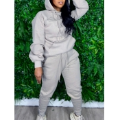 lovely Sportswear Hooded Collar Basic Light Grey Two Piece Pants Set