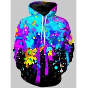 Lovely Street Hooded Collar Graffiti Print Multico