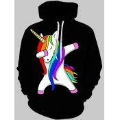 Lovely Trendy Hooded Collar Cartoon Print Black Men Hoodie