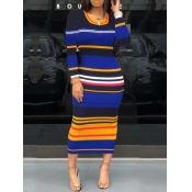 lovely Casual U Neck Striped Blue Mid Calf Dress