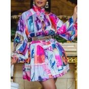 lovely Trendy Turtleneck Print Pink Knee Length Dress