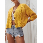 Lovely Casual Buttons Design Yellow Cardigan