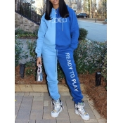 lovely Casual Hooded Collar Letter Patchwork Blue Two Piece Pants Set