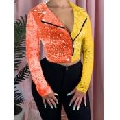 lovely Stylish Print Patchwork Orange Jacket