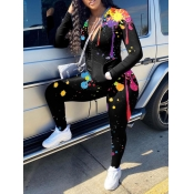 Lovely Casual Graffiti Print Zipper Design Black Two Piece Pants Set