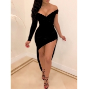 lovely Sexy Dew Shoulder Asymmetrical Black Maxi Dress