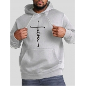 lovely Casual Hooded Collar Print Light Grey Men Hoodie