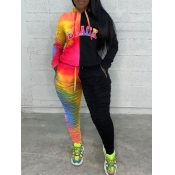 lovely Street Hooded Collar Tie-dye Patchwork Multicolor Plus Size Two-piece Pants Set