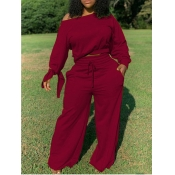 Lovely Casual Drawstring Loose Wine Red Plus Size Two-piece Pants Set