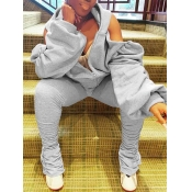 Lovely Stylish Hooded Collar Hollow-out Zipper Design Grey Plus Size Two-piece Pants Set