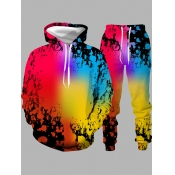 lovely Casual Hooded Collar Tie-dye Multicolor Men Two-piece Pants Set