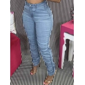 Lovely Casual Camo Print Baby Blue Jeans