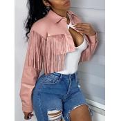 lovely Trendy Turndown Collar Tassel Design Pink L