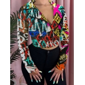 lovely Trendy Turndown Collar Letter Print Multicolor Coat