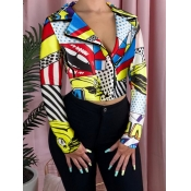 lovely Stylish Turndown Collar Print Yellow Jacket
