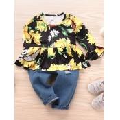 Lovely Sweet O Neck Floral Print Multicolor Girl T