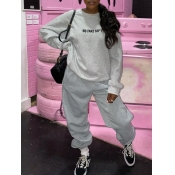 lovely Casual O Neck Letter Print Grey Two Piece Pants Set
