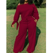 lovely Leisure Drawstring Loose Wine Red One-piece Jumpsuit