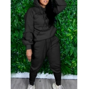 lovely Sportswear Hooded Collar Basic Black Two Piece Pants Set