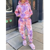 lovely Casual Hooded Collar Tie Dye Pink Two Piece Pants Set