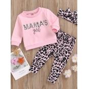lovely Stylish O Neck Letter Print Pink Girl Two-piece Pants Set