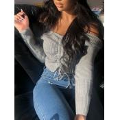 lovely Stylish Dew Shoulder Drawstring Grey Sweater