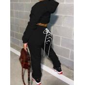 lovely Sportswear Hooded Collar Bandage Design Black Two Piece Pants Set