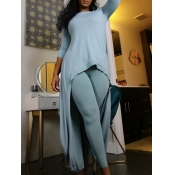lovely Casual O Neck Asymmetrical Skinny Blue Two Piece Pants Set