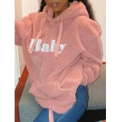 lovely Stylish Hooded Collar Letter Print Pink Hoodie