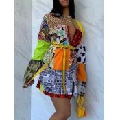 lovely Stylish Print Patchwork Multicolor Mini Dre