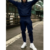 Lovely Casual Hooded Collar Basic Navy Blue Men Two-piece Pants Set